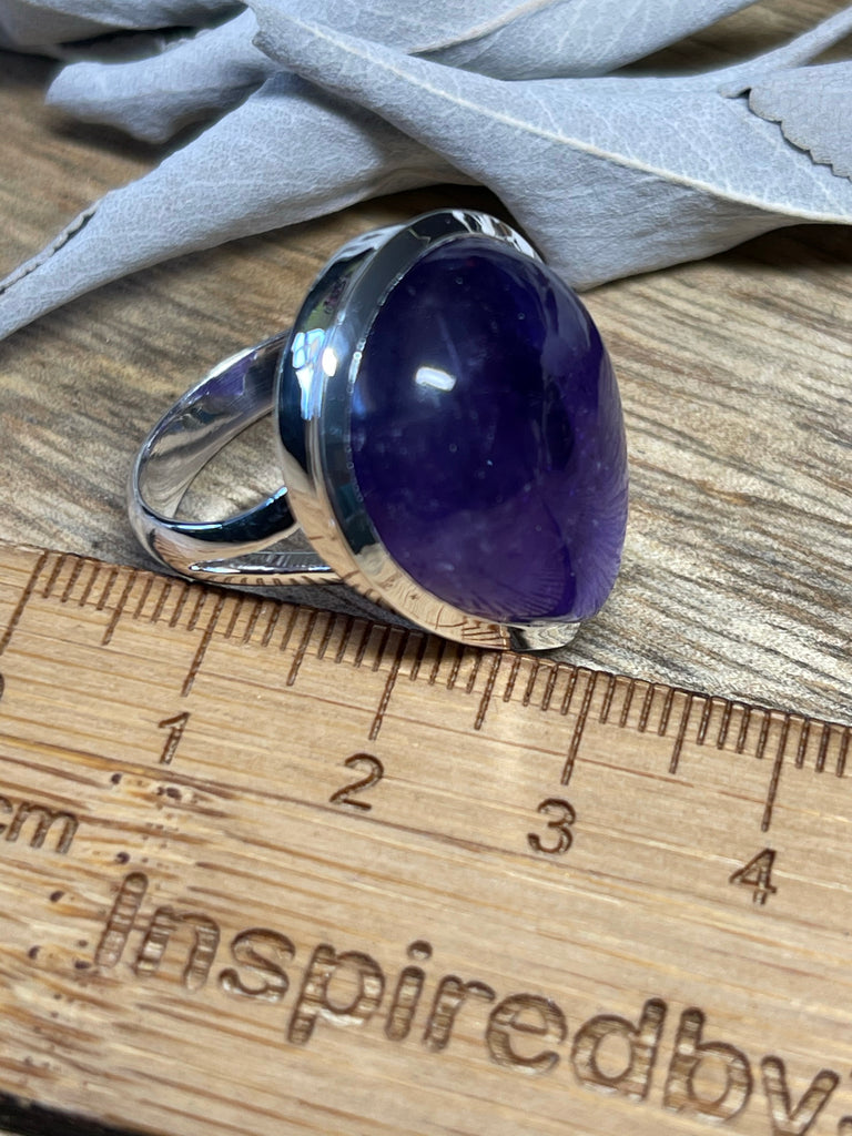 Amethyst Silver Ring- Size 7.5