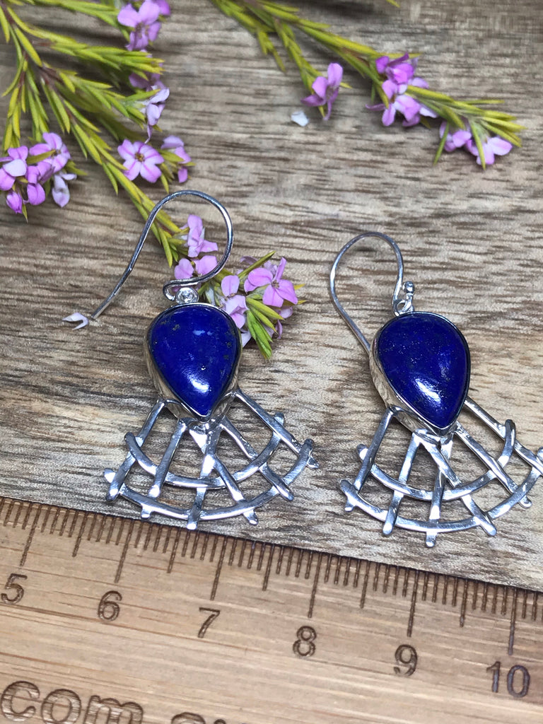 Lapis Lazuli Silver Earrings - Stress Relief. Communication