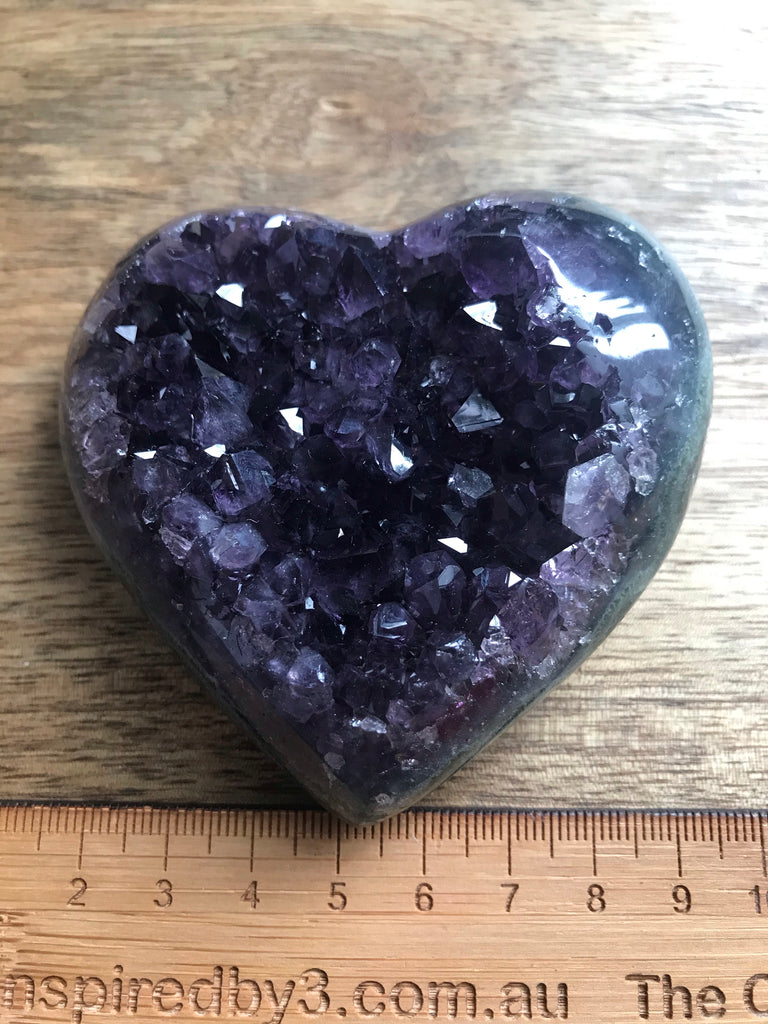 Amethyst Cluster Heart Dark Purple 205g