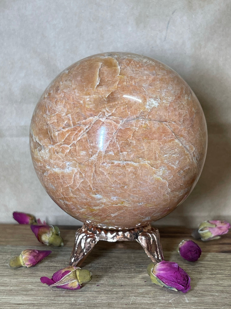 Moonstone Peach Sphere 680g - New Beginnings. Anxiety.