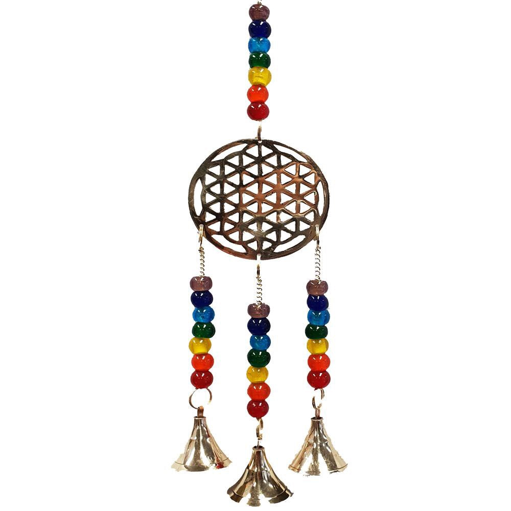 Flower of Life Brass Hanging with 3 bells Inspired By 3 Australia