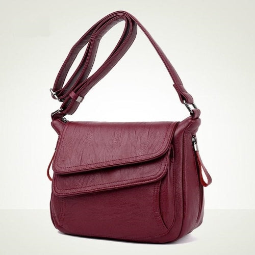 Burgundy Flap Closure Leather handbag