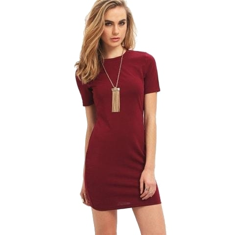 Burgundy short sleeve mini dress front view