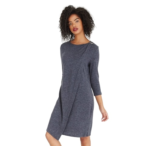 Casual Wrap Midi Dress Front