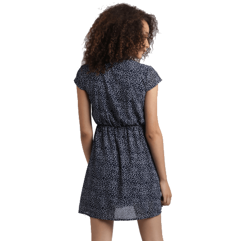 Collared Polka Dots Mini Dress from the back