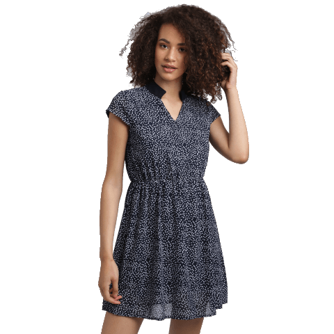 Collared Polka Dots Mini Dress in blue