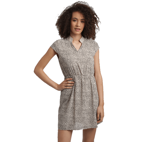 Collared Polka Dots Mini Dress in brown