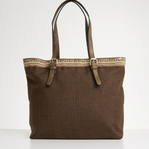 G Couture Brown Embroidery Tote Bag