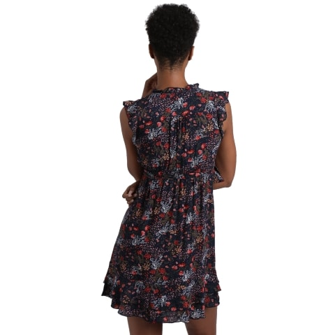 Navy Floral Mini Dress from the back