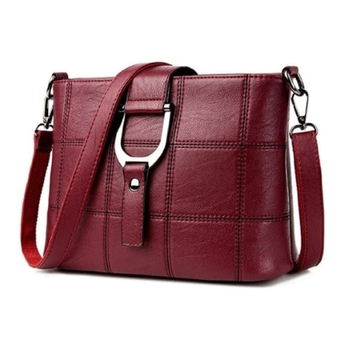Wine Red Versatile Leather handbag