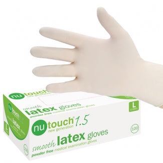 Nutouch 1.5 Smooth Textured Latex Powder Free Exam Gloves