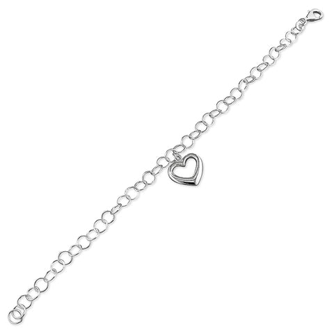 Silver heart and link Bracelet complete with presentation box