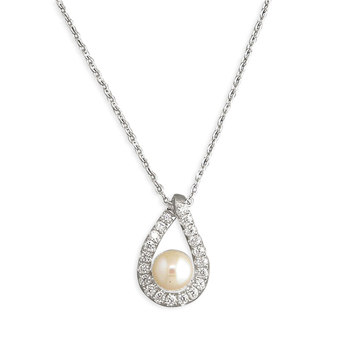Silver Freshwater Pearl and Cubic Zirconia pendant and chain complete with presentation box
