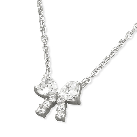 Silver Cubic Zirconia bow pendant and chain complete with presentation box