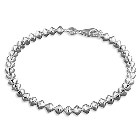 Silver diamond cut coned beads link Bracelet complete with presentation box