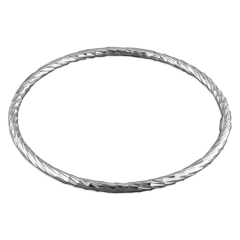 Silver diamond cut textured slave bangle complete with presentation box