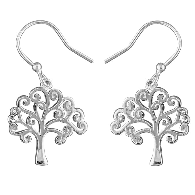 Silver Tree of Life drop earrings complete with presentation box