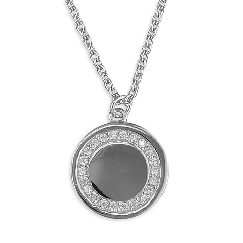 Silver Cubic Zirconia disc pendant and chain complete with presentation box