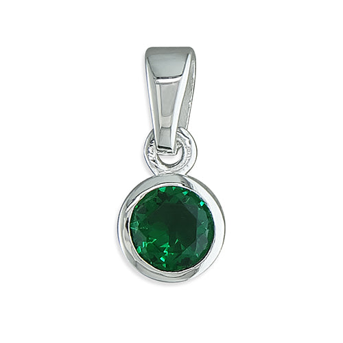 Silver green Cubic Zirconia pendant and chain complete with presentation box