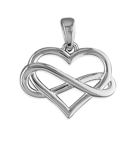 Silver Infinity Heart heart pendant and chain complete with presentation box