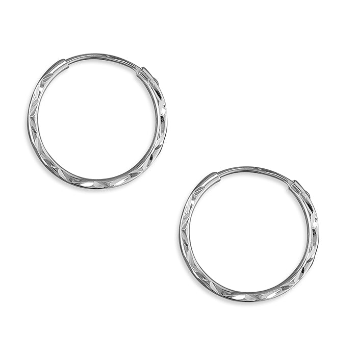 Silver hinged wire diamond cut hoop earrings complete with presentation box