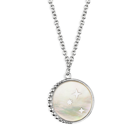 Silver Mother of Pearl and Star pendant and chain complete with presentation box