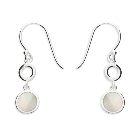 Silver Mother of Pearl drop earrings complete with presentation box