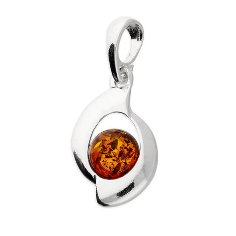 Silver Cognac Amber pendant and chain complete with presentation box