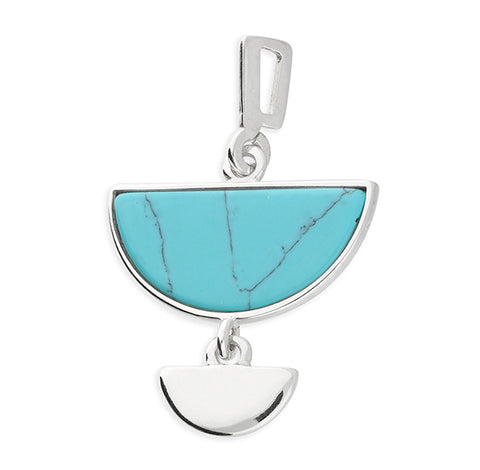 Silver fancy Turquoise pendant and chain complete with presentation box