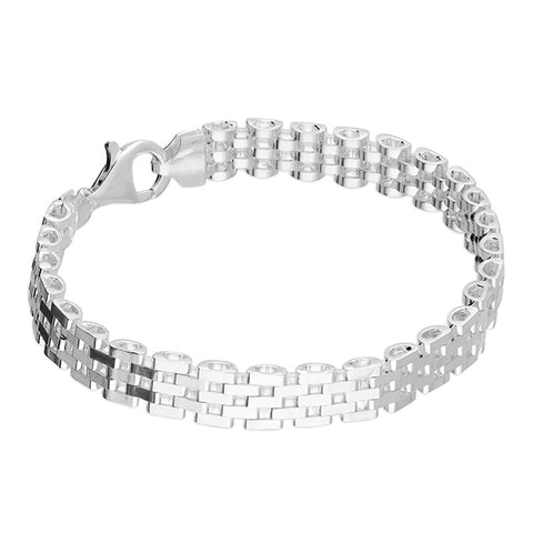 Silver watch band style link Bracelet complete with presentation box
