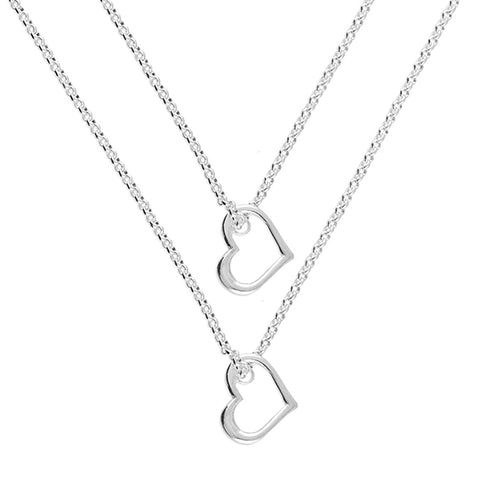 Silver double strand heart pendant and chain complete with presentation box