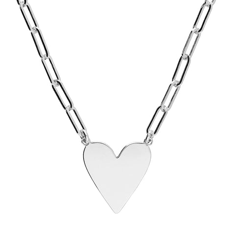 Silver flat heart pendant and chain complete with presentation box