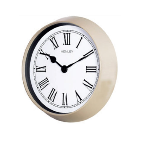 Taupe Finish Round Wall Clock, 1 Year Guarantee