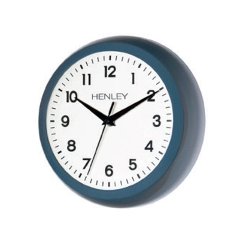 Blue Finish Round Wall Clock, 1 Year Guarantee