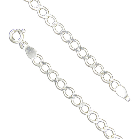 Silver open filed curb link Bracelet complete with presentation box