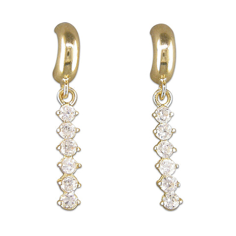 9ct Gold Cubic Zirconia drop earrings complete with presentation box