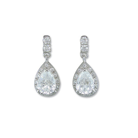 Silver Cubic Zirconia pear shape drop earrings complete with presentation box