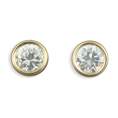 9ct Gold Cubic Zirconia stud earrings complete with presentation box