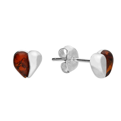 Silver heart Amber stud earrings complete with presentation box