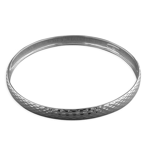 Silver diamond cut slave bangle complete with presentation box
