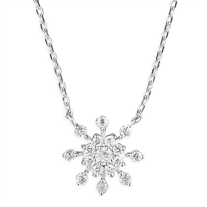 Silver Cubic Zirconia snowflake pendant and chain complete with presentation box