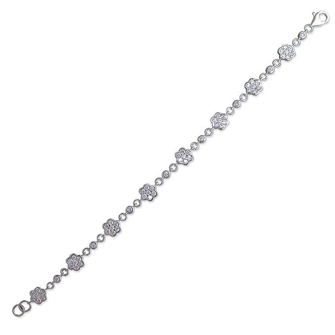 Silver Cubic Zirconia set flower clusters linked Bracelet complete with presentation box