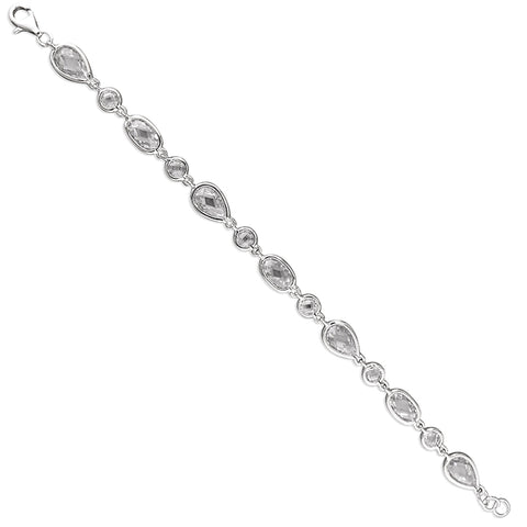 Silver Cubic Zirconia set link Bracelet complete with presentation box