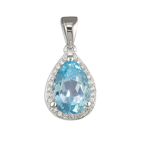Silver Blue Topaz and Cubic Zirconia pendant and chain complete with presentation box