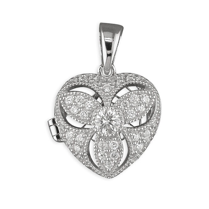Silver Cubic Zirconia set Locket and Chain complete with presentation box