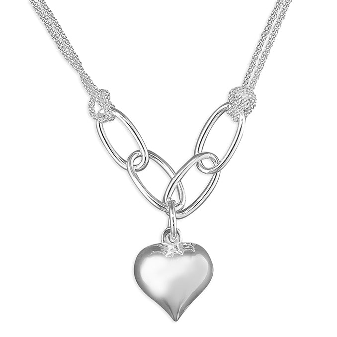 Silver Puffed Heart pendant and chain complete with presentation box