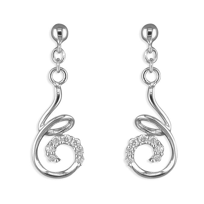 Silver Cubic Zirconia drop earrings complete with presentation box