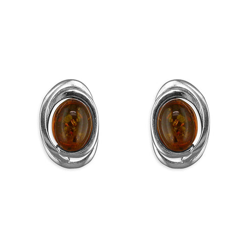 Silver oval Amber stud earrings complete with presentation box