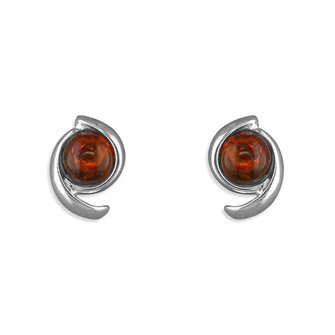 Silver swish Amber stud earrings complete with presentation box