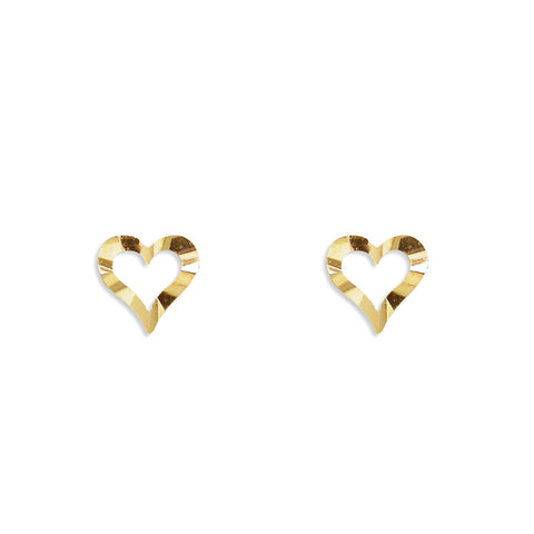 9ct Gold diamond cut heart stud earrings complete with presentation box